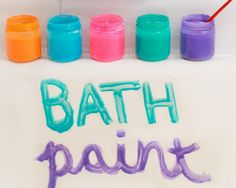 Bath paint- 1/4 cup shampoo or liquid soap 1/4 cup corn starch 1-2 TBS water 3-4 drops food coloring Combine cornstarch, shampoo, and food coloring. Add water 1/2 a tablespoon at a time until the mixture is thick enough to stick to the paint brush without much dripping, but thin enough to paint a line. If it gets too runny, add more cornstarch, too thick, add more water. Store in an airtight container in a cool place. This recipe makes one baby-food size jar of paint.