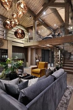 Mountain Home Interiors, House Design, House, Home, Log Cabin Furniture, Modern Rustic Homes, Luxury Homes, House Interior, Rustic Wood Furniture
