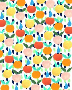 colorful citrus, print, pattern, design, summer, repeat, surface, lino, printmaking, colour scheme