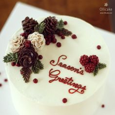 #ollichristmas #buttercream #flowercake#since2008 ollicake@naver.com Christmas Cake Decorations, Christmas Cupcakes, Holiday Cakes, Christmas Desserts, Christmas Baking, Buttercream Cake Designs, Smores Cake, Floral Cake, Pretty Cakes