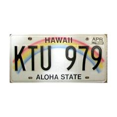 Hawaii License Plate ❤ liked on Polyvore featuring home, kitchen & dining, fillers, summer fillers, other, pictures and words