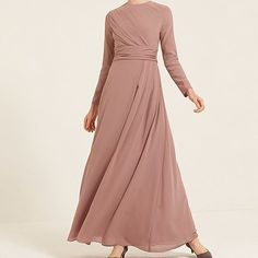 Redefine modest fashion with elegant and subtle details. Washed Truffle Wrap Front Gown with Pleating www.inayah.co