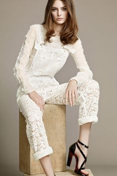 Yay or nay to lace overalls? As seen on Nina Ricci Resort 2015 - LaiaMagazine