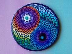 "Yin Yang Dot Mandala Painting, Rainbow Yin Yang, Dot Art by Kaila Lance, 4"" Round Mini Painting with Easel for Display by KailasCanvas on Etsy"