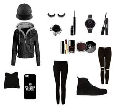 """""""Fashionable black outfit"""" by gracedudich ❤ liked on Polyvore featuring Chanel, Casetify, Olivia Burton, Alexander Wang, Ann Demeulemeester, MAC Cosmetics, Laura Geller and George J. Love"""