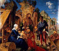 Durero, Adoración de los Magos 1504, óleo sobre tabla, Galleria degli Uffizi, Florencia.