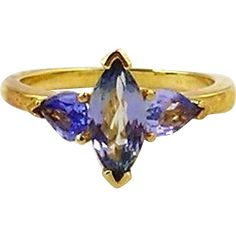Tanzanite Ladies Ring 14kt Yellow Gold from seasideartgallery on Ruby Lane