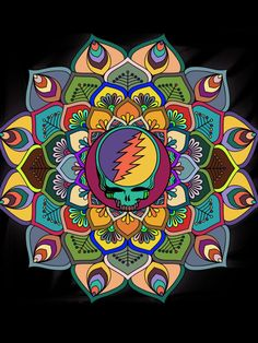 SYF - The Grateful Dead mandala stealie Grateful Dead Quotes, Grateful Dead Tattoo, Grateful Dead Image, Grateful Dead Poster, Grateful Dead Bears, Grateful Dead Wallpaper, Dead And Company, Hippie Peace, Skulls And Roses