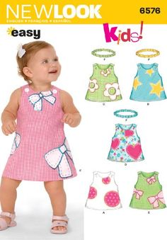 New Look Sewing Pattern 6576 Babies Dresses, Size A (NB-S-M-L): Babies Dress and Headband sewing pattern. New Look pattern part of New Look Spring 2006 Collection. Pattern for 6 looks. For sizes A (NB-S-M-L). Childrens Sewing Patterns, Baby Clothes Patterns, Girl Dress Patterns, Easy Sewing Patterns, Kids Patterns, Sewing For Kids, Baby Sewing, Clothing Patterns, Coat Patterns