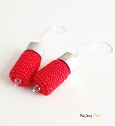Crochet Earrings In Red Colour Modern Findings, Summer Palette 2013 Handmade Jewellery UK by FallingDew on Etsy