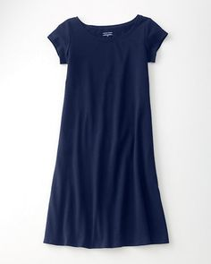 Eileen Fisher Organic Cotton Ballet-Neck Dress  |  Midnight; L