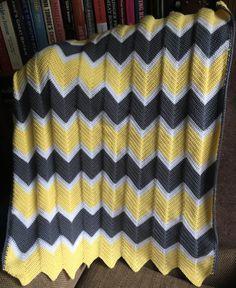 Yellow, grey and white chevron crochet baby blanket