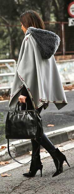 Street fashion grey and fur cape coat