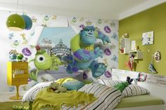 Home wall murals - online store with wide range of wall mural wallpapers starting from New York design and ending on Disney kids wallpaper photo murals. 3d Wallpaper Design, 3d Wallpaper For Walls, Kids Wallpaper, Photo Wallpaper, Disney Wall Murals, Curtains Childrens Room, Monster Room, Disney Monsters, Disney Pixar