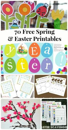 A wonderful list of free printables for Spring, Easter, St. Patrick's Day & Mother's Day -- use them on rainy days, at holiday meals or family car trips!