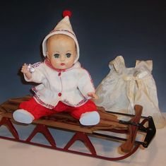 Vogue 1957 Ginnette Baby Doll Ready for Winter! Antique Dolls, Vintage Dolls, Baby Cheeks, Red Polish, Madame Alexander, Collector Dolls, Ruby Lane, Cuddling, Vintage Christmas