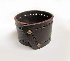 Handmade Dark Brown Bracelet Made Of Heavy Leather With Hole Pattern It Has Brass Color Snap Closure Main Color Dark Brown Material Heavy Leather Closure Brass Color Snaps Measurement Wide- Leather Accessories, Leather Jewelry, Leather Bracelets, Metal Jewelry, Leather Gifts, Leather Craft, Bracelets For Men, Handmade Bracelets, Crea Cuir