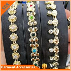 be1f8f701 High Quality Sew on PU Leather Plastic Rhinestone Trimming Beads Lace Chain  For Decoration
