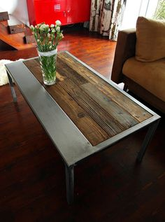 Handmade Rustic Reclaimed Wood & Steel Coffee Table - Vintage Industrial Coffee Table by DesignInFocus Steel Furniture, Industrial Furniture, Custom Furniture, Furniture Design, Vintage Industrial, Vintage Stil, Handmade Furniture, Vintage Wood, Vintage Coffee