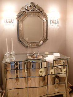 Silver luxurious  Powder room.
