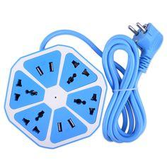Extended PowerCube Socket 4 Salidas + 4 Puertos USB Adaptador de Enchufe de LA UE con 1.7 m Cable de Extensión Adaptador Multi Cambiar Socket