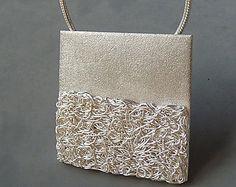Colgante plata plata fina con textura joyas por Kailajewellery