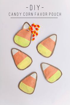 tell love and chocolate: TELL: CANDY CORN FAVOR POUCHES