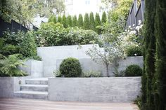 Terraced patio designs and terraced patio ideas. See how terraces can be used to create useable space for pools and patios. Terraced Patio Ideas, Hillside Landscaping, Garden Stairs, Terrace Garden, Back Gardens, Outdoor Gardens, Patio Design, Garden Design, Concrete Retaining Walls