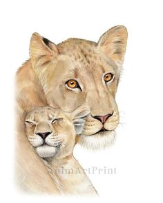 Animal Paintings, Animal Drawings, Safari Nursery, Nursery Decor, Baby Decor, Female Lion Tattoo, Mothers Day Drawings, Mother Son Tattoos, Mom Tattoo Designs