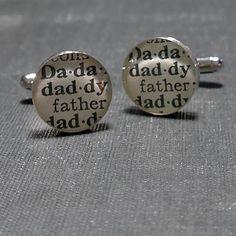 Daddy Dictionary Sterling Silver Round Cufflinks by dlkdesigns