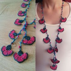 crochet flower necklace burgundy pink carnation by PashaBodrum Thread Crochet, Crochet Stitches, Knit Crochet, Crochet Accessories, Handmade Accessories, Flower Necklace, Crochet Necklace, Japanese Crochet, Crochet Ornaments