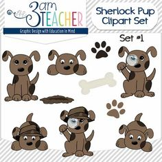 """$3.50 This set includes 10 cute detective """"Chocolate-Colored"""" puppy graphics in full color. Black and white set sold separately:http://www.teacherspayteachers.com/Product/Sherlock-Dog-Clip-Art-Set-Black-and-White-Set-1114801All images are in PNG format (translucent background)300 DPI (Perfect resolution for printing and re-sizing)Thank you for your support & stopping by my store!!"""