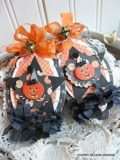 vintage halloween ornaments-PUMPKIN SET of TWO tags-handmade ornaments tags