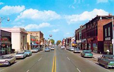 View of Superior Street looking east in downtown Alma, Michigan, 1950's