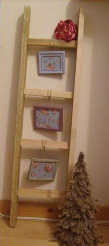 Shabby Chic Rustic Wooden Ladder - Photo Frame Display with Cath Kidston insert