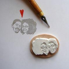 Custom / couple portrait / handcarved rubber stamp por lilimandrill