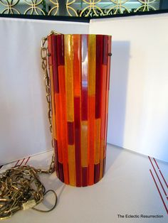 Vintage 1960s Lucite Swag Lamp-MOE Vibrant Fiesta-Rare Mid-Century Mod Lamp
