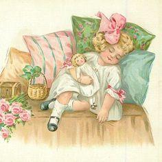 Little girl asleep with her doll. Vintage Pictures, Vintage Images, Victorian Pictures, Vintage Cards, Vintage Postcards, Jessie Willcox Smith, Victorian Valentines, Happy Birthday Girls, Decoupage
