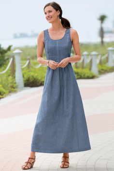 Pintucked Maxi Dress: Classic Women's Clothing from axi Dress: Light and easy linen-blend dress with pretty pintuck pleating detail.  Long, A-line silhouette; side zip Sleeveless style with pintuck plea#ChadwicksofBoston $49.99