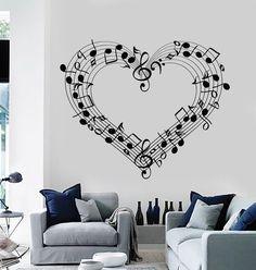 Wall Decal Sheet Music Love Coolest Room Decor Vinyl Stickers Art Mural (ig2583)