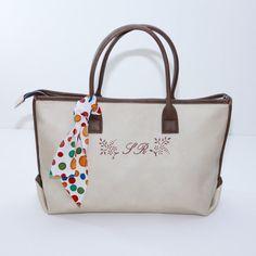 MONOGRAMMED tote bag medium oyster white work bag by bennaandhanna