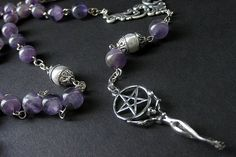 Pagan Necklace in Amethyst Gemstone. Wiccan Meditation Rosary Necklace. Handmade New Age Jewelry by Gilliauna via Etsy