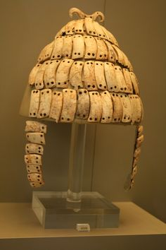 Mycenae: boar-tusk helmet, ca 1400 BC. NAMA. For centuries the only record humanity had of a boar's tusk helmet was a description in Homer's Iliad. Scholars assumed that Homer had just made up some fantasy helmet that never existed. Then archaeologists began to find artistic representations of boar-tusk helmets & even the remains of the helmets themselves