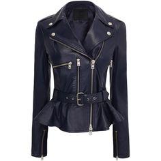 McQ Leather Biker Jacket ($599) ❤ liked on Polyvore featuring outerwear, jackets, coats, coats & jackets, jackets/blazers, blue leather jacket, peplum leather jackets, leather moto jackets, motorcycle jacket and leather biker jacket