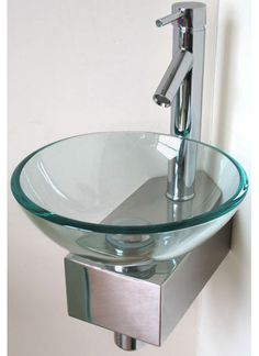 compact toilets | Corner Wall Mounted Glass Basin. Not sure how practical for a family bathroom, being glass, but it is a thing of beauty.