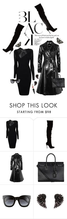 """Mission Monochrome: All-Black Outfit"" by shortyluv718 ❤ liked on Polyvore featuring Versace, Christian Louboutin, Calvin Klein 205W39NYC, Yves Saint Laurent, Gucci, Henri Bendel and allblackoutfit"