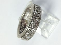 Sterling Silver and White Stone Filigree Band Ring, Size 5.75 #Band