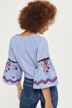 Stripe Embroidered Wrap Top