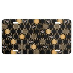 Honeycomb Pattern License Plate Zazzle Com In 2020 Honeycomb Pattern Black Colour Background License Plate