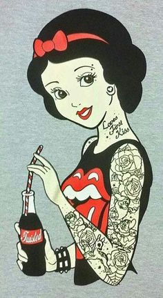 Punk Disney Rockabilly Snow White Vest Top psychobilly tattoo emo pinup scene Love*'*s first kiss. Why does no one know it's a g-d possessive? Could do without the coke, too.adds nothing. Emo Disney, Dark Disney, Disney Love, Disney Art, Punk Disney Princesses, Disney Gone Bad, Disney Punk Edits, Punk Disney Characters, Alternative Disney Princesses